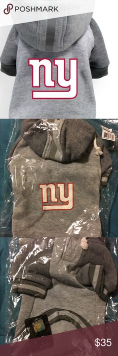 New York Giants NFL Dog Pet Hoodie Medium NFL Team Pet Hoodie - New York Giants  - Classic Sport Hoodie Design in Athletic Gray  - High Quality Soft and Thick Warm Fleece  - Drawstrings and Reflective Safety Stripe on Hood (Helmet Style!)  - Raglan Sleeves  - Leash Hole in back for easy harness/leash attachment  - NFL Team Logo Screen-print  - Washable!   Licensed and Manufactured by Little Earth Productions Little Earth Production Other