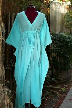 Caftan Maxi Dress - Beach Cover Up Kaftan in Light Blue Cotton Gauze - Lots of Colors African Print Fashion, African Fashion Dresses, African Dress, Abaya Fashion, Boho Fashion, Fashion Outfits, Fashion Tips, Beach Dresses, Casual Dresses