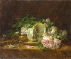 Platter with Seashells, Roses, Pearls and Earrings - Georgios Jakobides