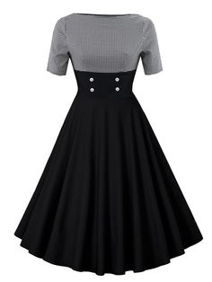Contrast Houndstooth Circle Dress - Contrast Houndstooth Circle DressFor Women-romwe Source by - Pretty Outfits, Pretty Dresses, Beautiful Dresses, Cool Outfits, Vintage Dresses, Vintage Outfits, Vintage Fashion, Teen Fashion Outfits, Fashion Dresses
