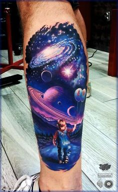 What does universe tattoo mean? We have universe tattoo ideas, designs, symbolism and we explain the meaning behind the tattoo. Leg Tattoos, Body Art Tattoos, Sleeve Tattoos, Fish Tattoos, Arm Tattoo, Tatoos, Lion Tattoo, Trendy Tattoos, Tattoos For Women