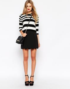 ASOS A Line Mini Skirt with Scallop Hem.