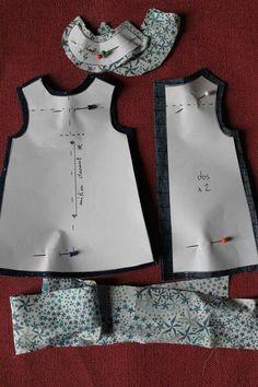 """Chéries N°1-Robe chasuble doublée forme """"salopette"""" * - Ma p'tite école de couture..."""