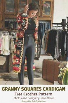 Crochet Jacket Pattern, Crochet Coat, Granny Square Crochet Pattern, Crochet Granny, Crochet Clothes, Knitted Coat Pattern, Crochet Edgings, Crochet Blocks, Crochet Tunic