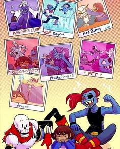 All Halloween costume cosplays, Papyrus as Asgore's clone (Toriel) Undyne as the great Papyrus, Sans as mad dummy, Papyrus as a super great Royal guard (Undyne), Undyne as muffet, Papyrus as Mettaton, and Undyne + Papyrus as Asgore. Them laughing together at their pictures of memories