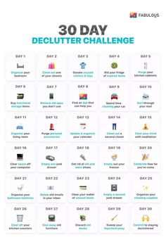 you ever feel overwhelmed with everything going on around you? This simple 30 day declutter challenge to declutter your life might just be the answer you need to clear your mind and put you and your home back on track. House Cleaning Checklist, Cleaning Hacks, Cleaning Schedules, Daily Cleaning, Apartment Cleaning Schedule, Laundry Schedule, Room Cleaning Tips, Cleaning Schedule Printable, Clean House Schedule