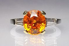 "Hartley Jewelers has a beautiful and rare Spessartite or ""Mandarin"" Garnet ring."