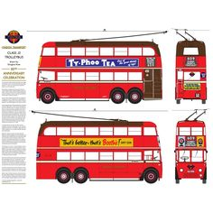 This Class Trolleybus drawing was published to celebrate the Anniversary of the last London Trolleybus. London Transport Museum, Public Transport, Transport Posters, Transportation Posters, London Red Bus, Old London, London Underground Tube, Hidden London, Work Anniversary