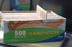 Make a carboard loom from a ZIPLOC sandwich box