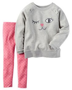 7e734c0b169 2-Piece French Terry Pullover   Legging Set Baby Girls