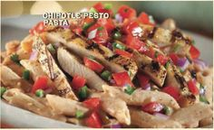 CHIPOTLE PESTO PASTA  (Choice of Chicken, Steak or Shrimp)  Penne pasta topped with your choice of protein, a spicy chipotle pesto sauce, sprinkled with pico de gallo.