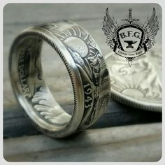 Walking liberty silver half dollar coin ring..  Check us out on facebook and Etsy.com/shop/BFGCustomCoinRings