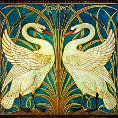 Swan, Rush and Iris	 Walter Crane (1845–1915) artist  Design for a dado wallpaper Date	1875 Medium gouache and watercolor on paper