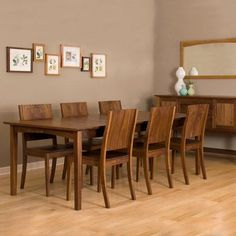 Shaker Dining Table in Eastern Walnut, shown with Studio Chairs Modern Wood Furniture, Hardwood Furniture, Furniture Design, Furniture Ideas, Prairie Style Houses, Contemporary Dining Table, Dining Room Chairs, Dining Set, Shaker Style