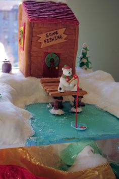 """""""Gone Fishing"""" Top 10 Gingerbread House Competition winner at Grove Park Inn in Asheville NC"""