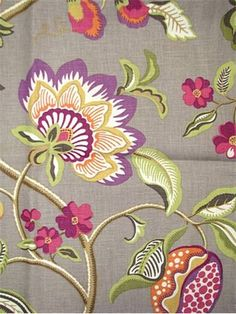 "Sangria Mink:Braemore Textiles traditional jacobean floral print. 100% linen fabric. Beautiful multi purpose decorator fabric. 27"" repeat. 54"" wide"