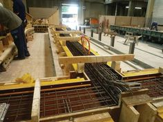 Formwork with rebar in place, awaiting concrete pour.