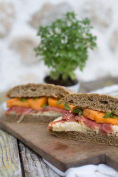 Fennel german bread panini with melon, prosciutto, mozzarella and greek basil