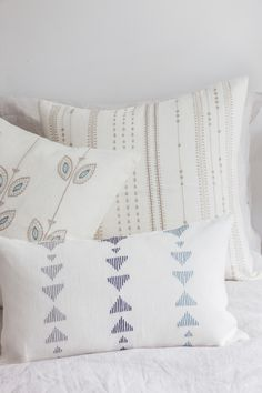 Traditional designs re-interpreted - Hand embroidered using traditional stitches, by our female artisan partners in southern India. Truly artisan made! Linen Pillows, Decorative Pillows, Bed Pillows, Guest Room Decor, Bedroom Decor, Traditional Design, Cushion Covers, Artisan, Texture