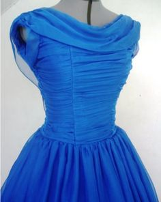 A blue chiffon gown by Elegance 50s, vintage inspired gathered neckline and ruched bodice, beautiful for balls and perfect as an alternative wedding dress!