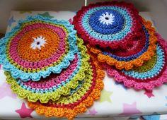 Oilily onderzetters haken, coasters crochet