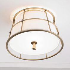 Metal Guard Linen Shade Ceiling Light