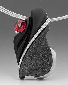 Drusy Pendant with Rubelite Hand-fabricated in 14K white gold, set with a custom cut, black drusy onyx carving, rubelite tourmaline and diam...