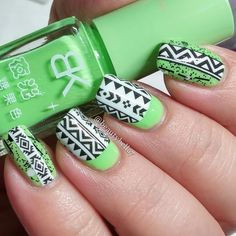 Water decals make gorgeous nail art so attainable! Watch the video and get the green/tribal manicure using these products.