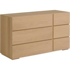 Parisot Liz chest of drawers with 6 drawers in natural oak