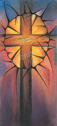 Cross and Crown of Thorns  - Banner by Sr Mary Stephen CRSS 'When I am lifted up from the earth, I will draw all people to myself.' John 12:32
