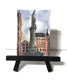 ACEO original watercolor Architecture, Europe series painting, ATC artist trading card, ACEO painting, great gift, mini easel included