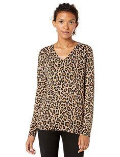 Grey Heather Animal Print L Essentials Lightweight Crewneck Sweater Pullover