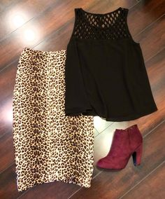Halo Boutique cheetah pencil skirt and Naked Zebra cage tank with maroon booties.  www.facebook.com/shophalo
