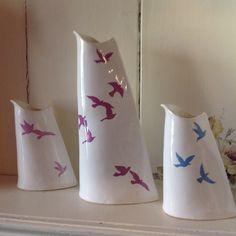 New: slimline birds in flight jugs Birds In Flight, New Work, Ceramics, Contemporary, Handmade, Inspiration, Ideas, Ceramica, Biblical Inspiration