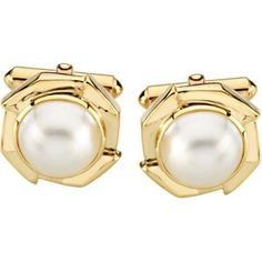 Pair 12.00 Mm 14K Yellow Gold Mabe' Cultured Pearl Cufflinks null. $1382.87