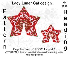 Christmas peyote patterns, Stars Peyote pattern, Deer seed beads patterns, Winter beading, Noel seed beads, Peyote stitch Schemes for the beading by Lady Lunar Cat Pattern for peyote beaded Stars 17PS014 2 size and 4 color versions! Ready for download scheme for beading. This is