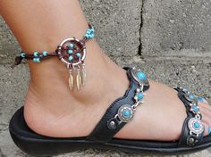 Dream Catcher ANKLET or BRACELET Turquoise and by MidnightsMojo, $22.00