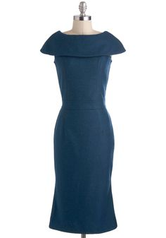 Prodigy of Poise Dress - Blue, Solid, Work, Sheath / Shift, Long, Cocktail, Vintage Inspired, Cap Sleeves, 40s