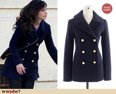 Zooey Deschanel Fashion: J. Crew Majesty Peacoat in Navy worn on New Girl