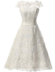 JAEDEN Women's Vintage Lace Wedding Dress Short Bridal Gown Dresses with Sash White US8