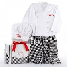 Big Dreamzzz Baby Chef Layette Gift Set - This Halloween, Baby Chef is ready for Tricks and especially for treats!  This baby sleep-n-play layette will be an adorable way to include Baby in the holiday fun.  With the white chef shirt embroidered with Baby's monogram, the checkered pants and an adorable chef hat, Little One is ready to sleep, play, or go Trick or Treat with the family!