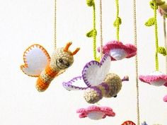 crochet baby mobile with butterflies and flowers  by spikycake, $88.00