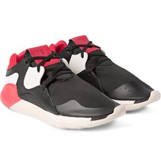 Y-3 - Boost QR Leather and Neoprene Sneakers