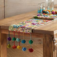 Embroidered Wool Table Runners - POMPOSA TABLE RUNNER – Each of these colorful runners is one of a kind, made by the women in the villages around Cusco, Peru, as stitch samplers to show off their embroidery skills. Diy And Crafts, Arts And Crafts, Sewing Projects, Diy Projects, Ramadan Decorations, Creation Deco, Bohemian Decor, Table Runners, Hand Embroidery