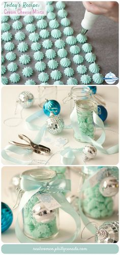 Edible Gift Idea: Cream Cheese Mints ~ Just three ingredients! They're creamy, fresh, sweet and adorable. What's perfect is that you can customize their color to match the pretty packaging. I popped my cool blue mints into sweet little snap jars and wrapped icy blue ribbons around them and topped each off with a silver ornament and little snowflake tag with silver writing. Super cute!