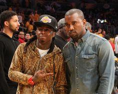 Pin for Later: Kanye West a enfin réussi à sourire !!!!! Champagne !!!!!! Un match des Lakers avec Lil Wayne ? Nan