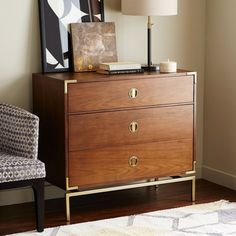 Malone Campaign 3-Drawer Chest - Walnut