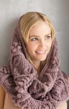 Free knitting pattern for Cowl Hood in Bobble and Leaf Pattern and more hood knitting patterns