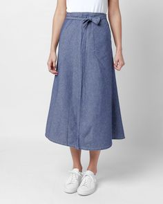 Long Wrap Apron Skirt in Indigo Cotton Dungaree Cloth