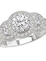 Triple Halo Round Semi-Mount Diamond Ring in 14kt White Gold with Milgrain and Etching Detail. (D.1/2 carat total weight, does NOT include center stone as shown) http://www.houstondiamondandgem.com/  Engagement ring // Wedding Ring // Diamond Ring